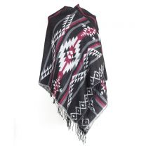 Black Aztec Reversible Poncho