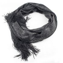 Wide Black and Silver Glitter Lurex Shawl