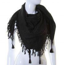 Black Plain Square Scarf (Tassles)
