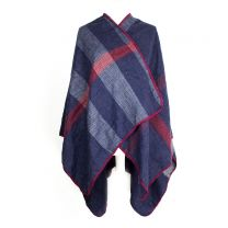Checkered Blue Poncho