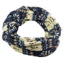 Nordic Winter Snood Scarf - Blue & Cream