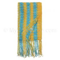 Yellow & Blue Zigzag Open Weave Scarf