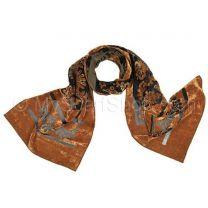 Bronze Floral Velvet Scarf