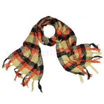 Yellow Knitted Plaid Scarf