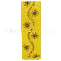 Yellow Embellished Georgette Neck Scarf