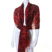 Red Animal Print Cashmere Pashmina