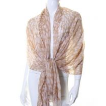 Light Brown Animal Print Cashmere Pashmina