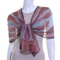 Blue & Pink Paisley Silk Chiffon Scarf