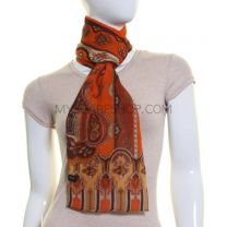 Orange Paisley Print Silk Chiffon Scarf