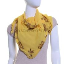 Yellow Embellished Square Georgette Shawl