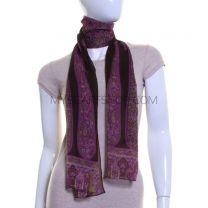 Purple Paisley Silk Chiffon Scarf