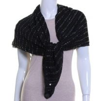 Black Sequin Georgette Square Scarf