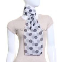 White and Navy Big Polka Dot Chiffon Scarf