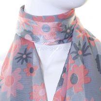 Satin Chiffon Floral Scarf (Pink & Grey)