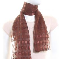 Brown Rectangles Chiffon Scarf