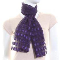 Purple Rectangles Chiffon Scarf
