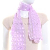Lilac Rectangles Chiffon Scarf