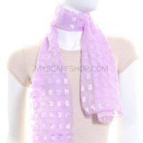 Lilac Rectangles Chiffon Scarf