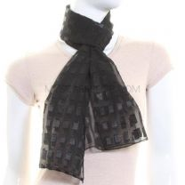 Black Rectangles Chiffon Scarf