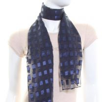 Navy Rectangles Chiffon Scarf