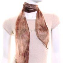 Brown Tie Dye Chiffon Scarf