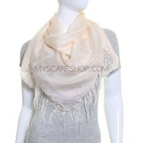 Cream Large Square Silk Scarf with Tassels