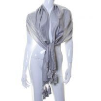 Pearl Grey Fine Stripes Silky Pashmina