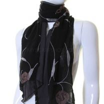 Black Cotton Flower Embroidered Scarf