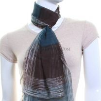 Brown Chiffon Scarf (Geometric Stripes)