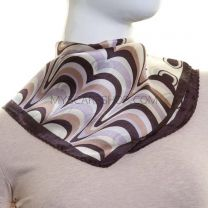 Cream Abstract Print Silk Square Scarf