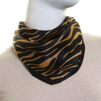 Black Zebra Print Silk Neck Scarf
