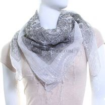 White Paisley Cotton Square Tassel Scarf