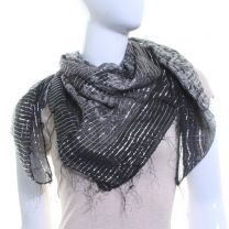 Black Paisley Tassel Cotton Square Scarf