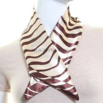 Zebra Print Satin Neck Scarf (Brown)