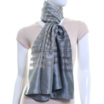 Grey Striped Silk Shawl