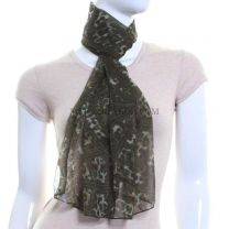 Mixed Animal Print Chiffon Scarf (Green)