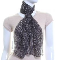 Mixed Animal Print Chiffon Scarf (Grey)
