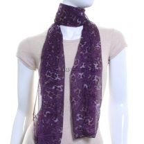 Mixed Animal Print Chiffon Scarf (Purple)