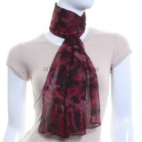 Mixed Animal Print Chiffon Scarf (Red)