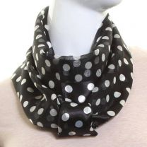 Black Polka Dot Satin Stripe Scarf