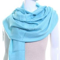 Sea Blue Plain Pashmina