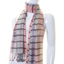 Grey & Pink Stripe Pashmina