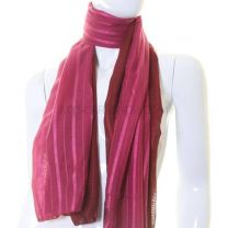 Dark Pink Two Tone Stripe Scarf