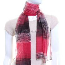 Red Chiffon Scarf (Geometric Stripes)
