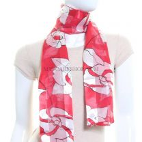 Large Abstract Floral Print Satin Stripe Scarf