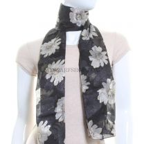 Black Flower Print Satin Stripe Scarf