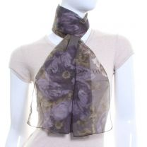 Purple Chiffon Scarf (Floral)