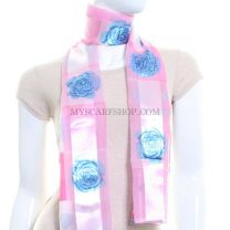 Pink Rose Print Satin Stripe Scarf