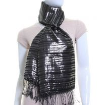 Black Lurex Stripes Pashmina (Silver)