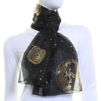 Black Chiffon Scarf (Gold Zodiac)